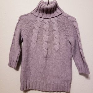 Gap Purple Cableknit 3/4 Sleeve Turtleneck Sweater